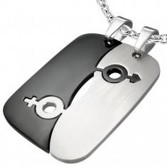 Šperky eshop - Prívesky z ocele pre dvoch - symbol pohlaví G20.12