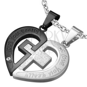 Dvojitý oceľový prívesok - kríž v srdci, čierno strieborná farba