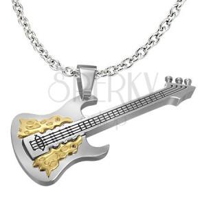 Oceľový prívesok strieborno-zlatej farby - gitara