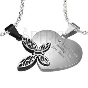 Oceľový prívesok pre zaľúbených - srdce, motýľ