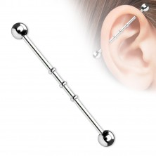 Oceľový piercing do ucha s troma malými obručami a guličkovým zakončením