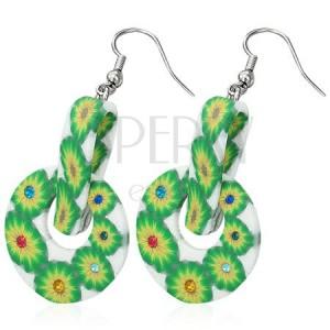 FIMO kruhové náušnice - zelené kvety, štipec