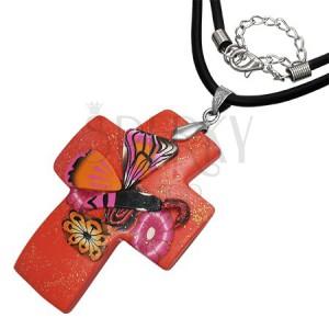 Náhrdelník Fimo - červený glitrovaný kríž a motýľ