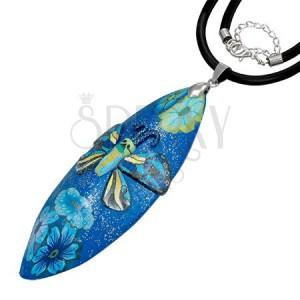 Fimo náhrdelník - modrý glitrovaný s motýľom