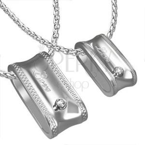 Prívesok z ocele pre dvojicu oválny prstenec - nápis a zirkón