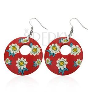 Náušnice Fimo - červený kruh a biele kvety