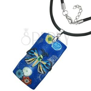 Fimo náhrdelník - tmavomodrý obdĺžnik s motýľom