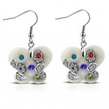 Fimo náušnice - biely motýlik, sivé kvety