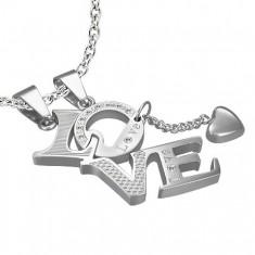 Šperky eshop - Prívesok z ocele pre zamilovaných LOVE - srdiečko ... 1dd1d9fa0f5