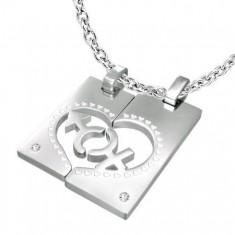Šperky eshop - Oceľový prívesok pre dvojicu - obdĺžnik 870423f48f6