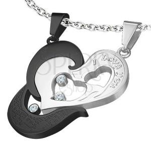 Netradičný dvojdielny prívesok z ocele - srdce, nápis, zirkón, modlitba