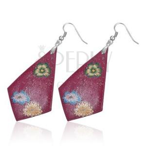 FIMO náušnice - fialové kosoštvorce, kvety