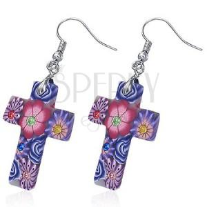 Fimo náušnice - biely kríž s fialovými kvetmi, zirkóny