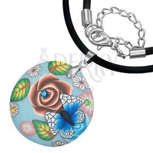 FIMO náhrdelník - modrý kruh s motýľom, zirkóny, kvety
