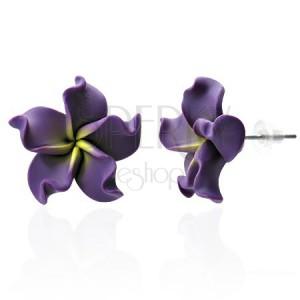 FIMO náušnice - fialový kvet
