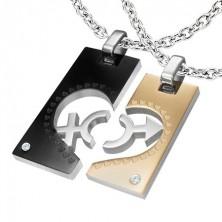 Prívesky z ocele pre dvojicu - obdĺžnik, srdce, znak ON a ONA