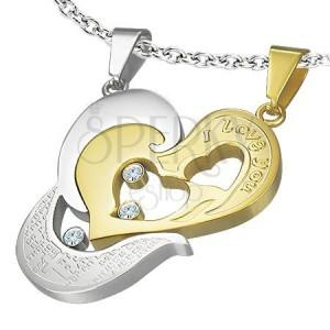 Oceľový prívesok dvojdielny - zlaté srdce I love you, krížik