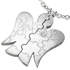 Oceľový prívesok ANJEL pre dvojicu - zirkón, puzzle