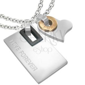 Prívesok z ocele pre zaľúbenú dvojicu - srdce, obdĺžnik