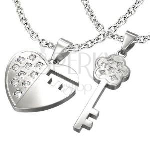 561b13068 Oceľový prívesok pre dvoch - kľúč, srdce, zirkóny | Šperky Eshop