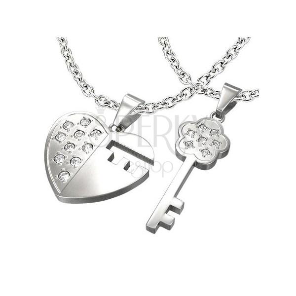 04121add5 Oceľový prívesok pre dvoch - kľúč, srdce, zirkóny   Šperky Eshop
