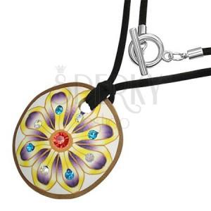Okrúhly FIMO náhrdelník - kvet, zirkóny