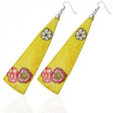 FIMO náušnice - žlté trojuholníky, kvietky