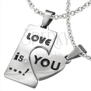 Dvojdielny prívesok pre tvoju lásku - srdce, obdĺžnik