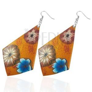 FIMO náušnice - oranžové štvoruholníky, kvety