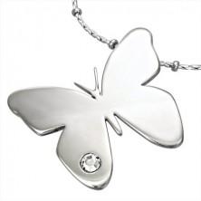 Prívesok z chirurgickej ocele, lesklý motýľ s čírym zirkónikom