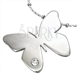 Prívesok z chirurgickej ocele s drahokamom CZ motív motýľ