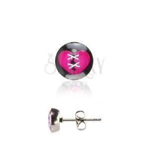 Náušnice z ocele - ružové srdiečko
