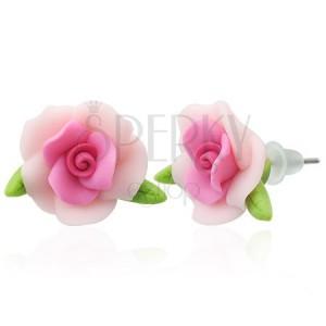 Náušnice fimo - ružička s lístkami
