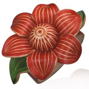 Kožený náramok - kvet viniča, červený