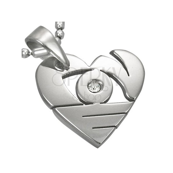 Prívesok z chirurgickej ocele striebornej farby, lesklé srdce s výrezmi a zirkónom