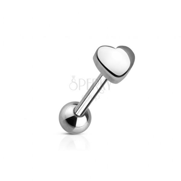 Piercing jazyka s koncovým tvarom malé srdiečko