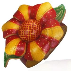 Náramok z kože - oranžovo červený kvet