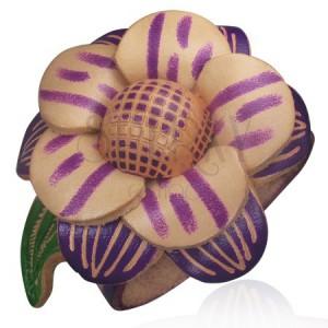 Náramok z kože - fialový, veľký kvet