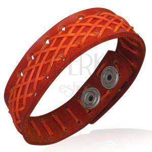 Kožený náramok - oranžový, prešívaný šnúrkou