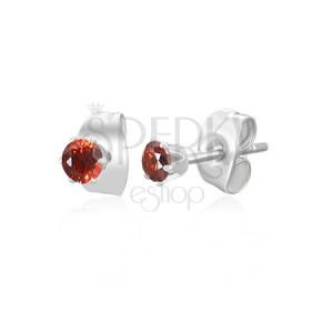 Náušnice z chirurgickej ocele striebornej farby - malý červený zirkón