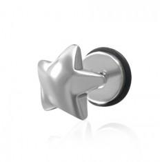 Šperky eshop - Falošný piercing do ucha z ocele - plug, hviezda I1.11