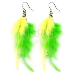 Náušnice so žltými a zelenými pierkami