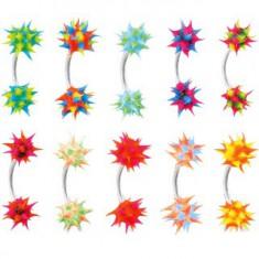 Šperky eshop - Piercing do obočia so silikónovým farebným ježkom C16.19 - Farba piercing: Čierna - Modrá - Ružová