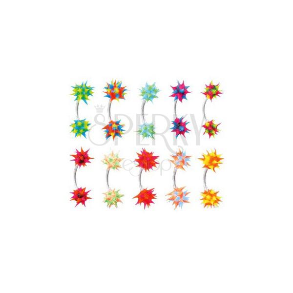 Piercing do obočia so silikónovým farebným ježkom