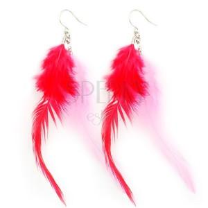 Náušnice - ružové a červené pierka