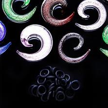 Expander do ucha - farebná sklenená špirála, gumičky