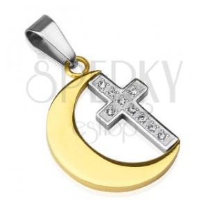 Prívesok z ocele - mesiac zlatej farby, krížik, zirkóny