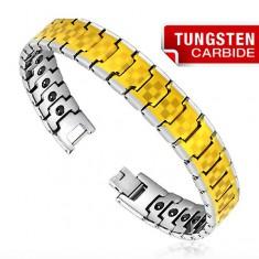 Tungstenový náramok - dvojfarebný, šachovnica
