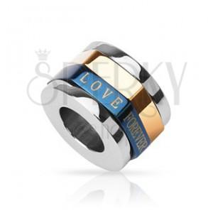 Prívesok pre zamilovaných - trojfarebný prstenec, LOVE FOREVER