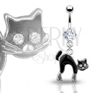Piercing do pupku - čierna mačka, zirkóny